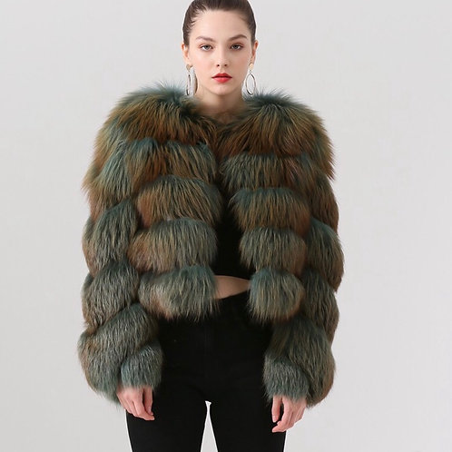 Abrigo de zorro corto - verde jaspeado