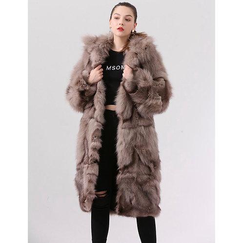 Abrigo largo de zorro - marrón