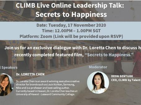Secret to Happiness - CLIMB Seminar and Screening