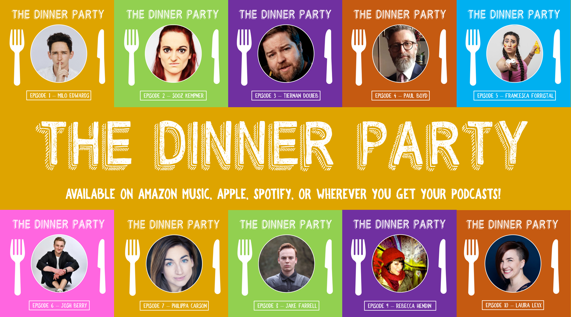 In each episode of The Dinner Party, host Conor McReynolds asks guests to describe their dream dinner parties - the venue, the menu, and the guest list!  Who are they inviting?  Why?  And what would they talk about?  These conversations are always fascinating, and more often than not, very funny!