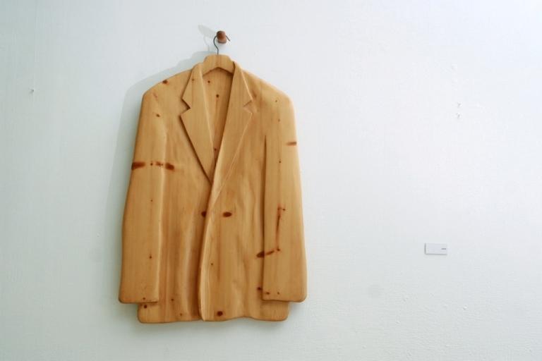 A wooden suit