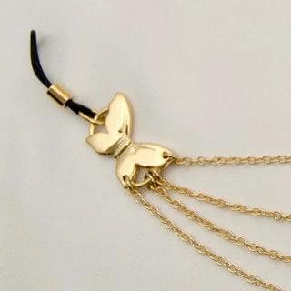 Chaine seins drapé papillons or
