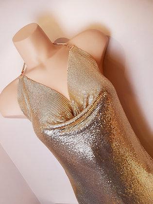 Robe métalique or
