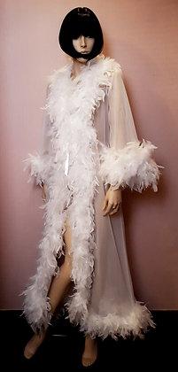 Déshabillé à plumes long blanc