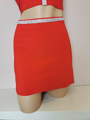 Jupe jersey strass rouge