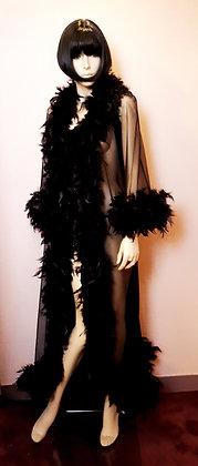 Déshabillé à plumes long noir