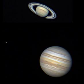 Saturno e Júpiter (com uma de suas luas à esquerda) de ontem à noite em uma rápida captura