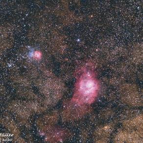 Nebulosas Trífida (esquerda) e da Lagoa (direita)