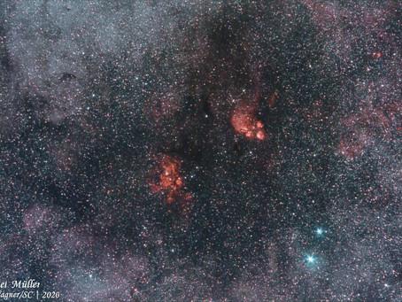 Nebulosas da Lagosta e da Pata do Gato, próximas da região central da Via Láctea