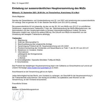 WICHTIGE INFORMATION FÜR MITGLIEDER DES VEREINS MÜZE