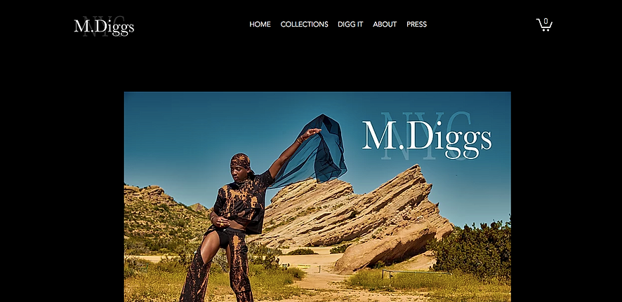 Heir PR x M. Diggs NYC Website Design Homepage Snapshot
