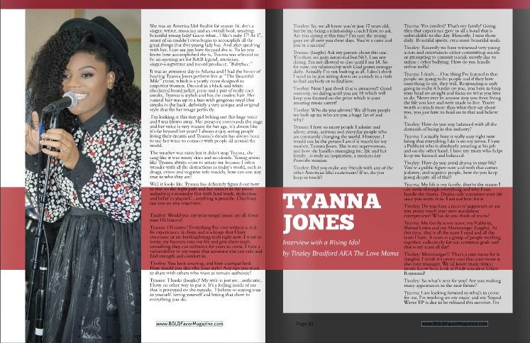 Heir PR x Tyanna Jones Bold Favor Magazine Press Credits