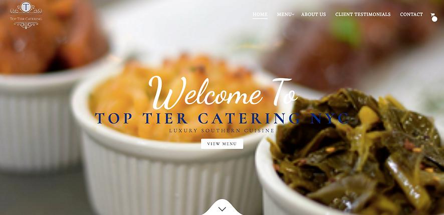 Heir PR x Top Tier Catering Website Design Homepage Snapshot