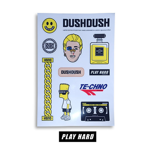 PLAY HARD VINYL STICKER SET