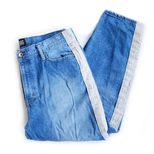 Men's BDG UO Medium Blue Wash Beige Corduroy Taped Stripe Straight Cropped Denim Jeans