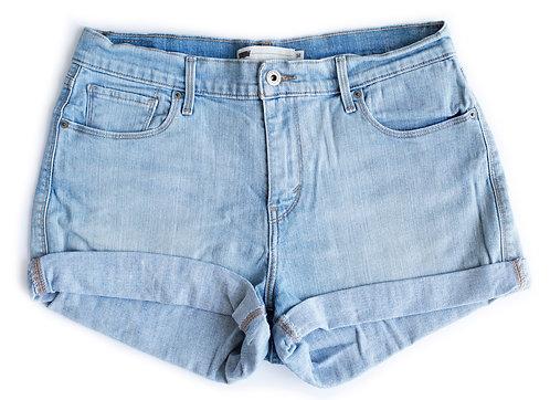 Vintage Levi's Light Wash High Rise Cuffed Denim Shorts - Sz 32/33
