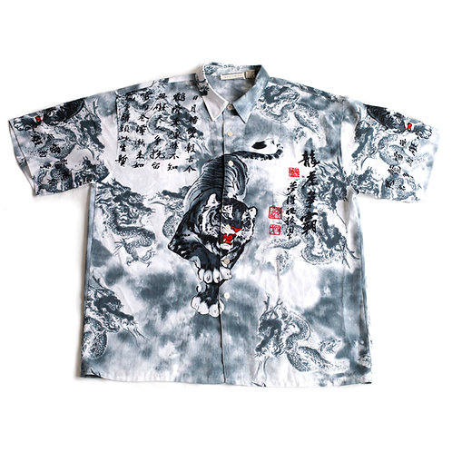 Rare Vintage Y2k Skoops Worldwide Crouching Tiger White Gray Red Double Sided Graphic Short Sleeve Button Up / DownShirt XXL