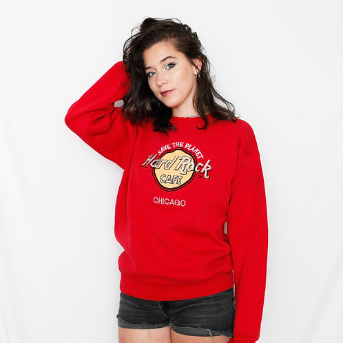 Vintage Hard Rock Cafe Chicago Logo Red Crewneck Sweater - S