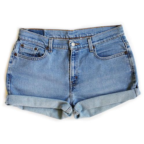 Vintage Levi's Light Wash High Rise Cuffed Denim Shorts - 33