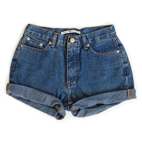 Vintage Tommy Hilfiger Medium Wash Mid-High Rise Denim Cuffed Shorts - 23/24