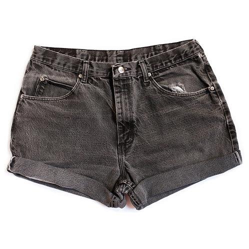 Vintage Black High Rise Cuffed Shorts - 33/34