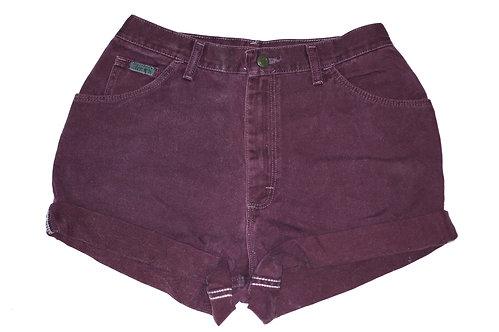 Vintage Maroon Burgundy High Rise Cuffed Shorts - Sz 28