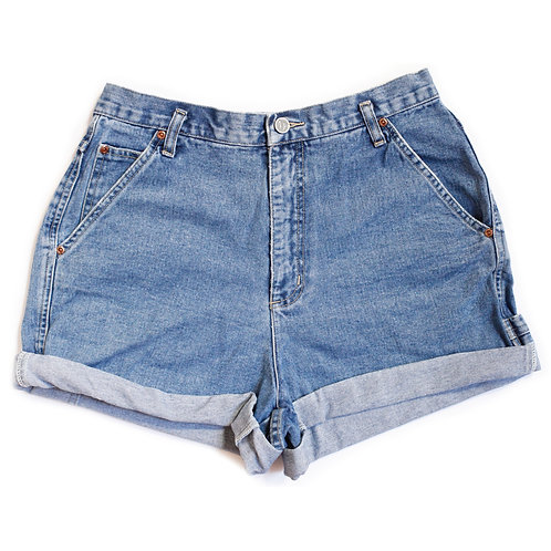 Vintage Medium Wash High Rise Cuffed Shorts - 31/32