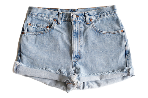 Vintage Levi's Light Blue Wash High Rise Cut Off Cuffed Shorts - Sz 32