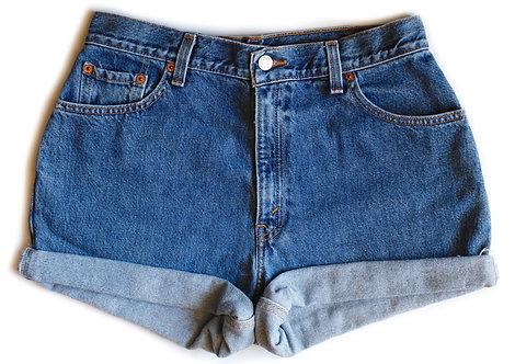 Vintage Levi's Medium/Dark Wash High Rise Cuffed Denim Shorts - 31