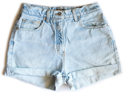 Vintage Light Wash High Waisted / Rise Cuffed Denim Shorts – 28