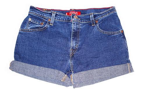 Vintage Levi's Dark Wash Mid-High Rise Cuffed Shorts - Sz 30/31