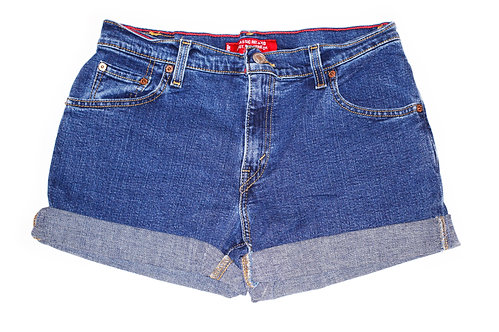 Vintage Levi's Dark Wash Mid-High Rise Cuffed Shorts - Sz 30/31