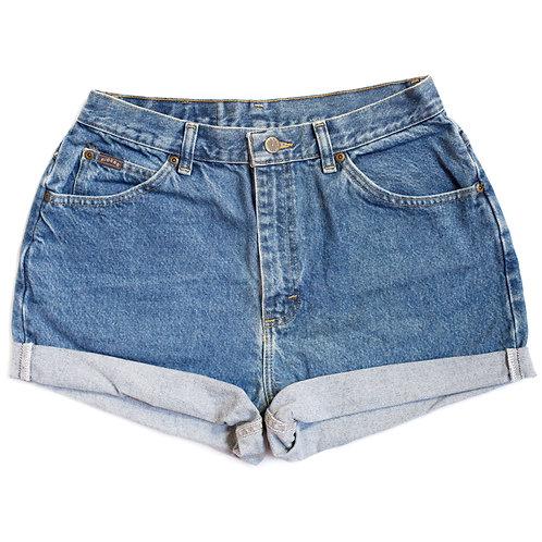 Vintage Lee Dark Wash High Rise Cuffed Shorts - 30