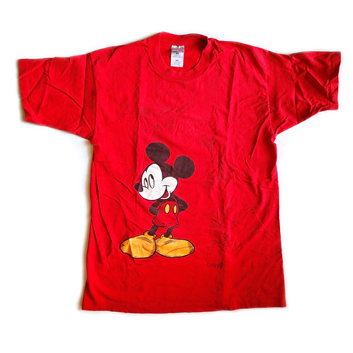 Vintage 90s Disney Mickey Mouse Red Graphic Tee / T-shirt - M/L