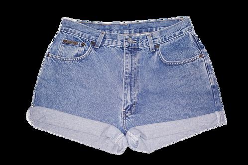 Vintage Calvin Klein Medium Wash High Rise Cuffed Denim Shorts - Front