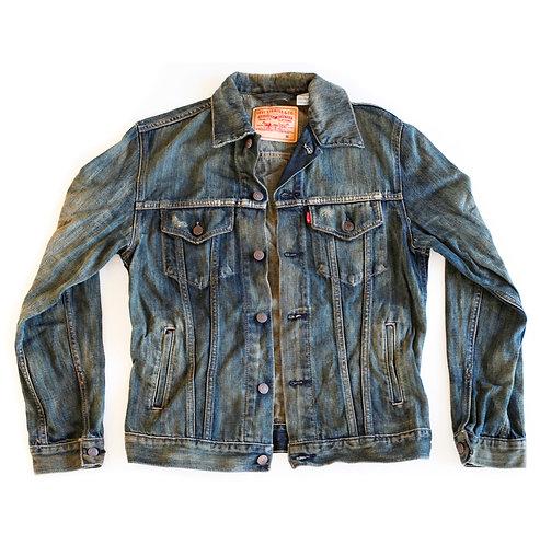 Levi's Medium/Dark Blue Wash Distressed Denim Button Up Jean Jacket