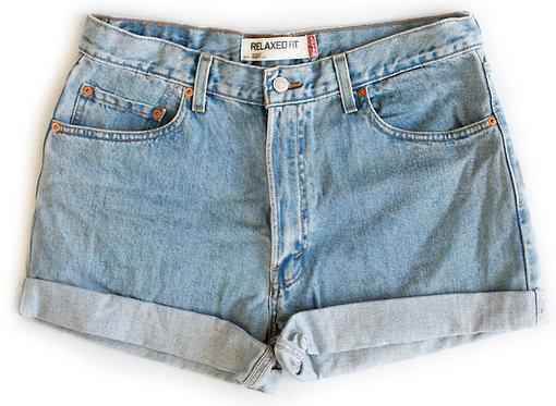 Vintage Levi's Light/Medium Blue Wash High Rise Cuffed Shorts - Sz 35
