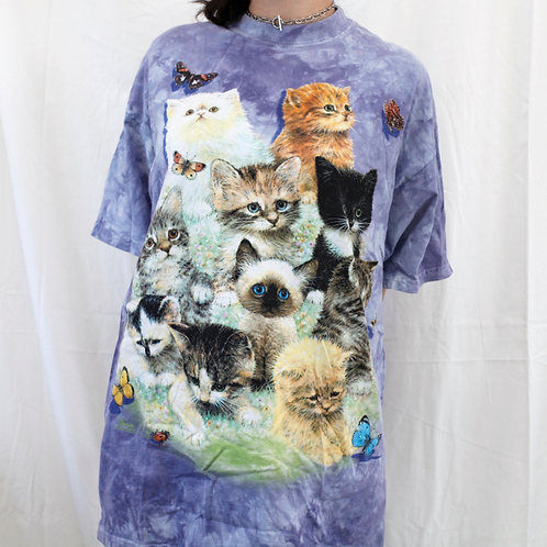 Vintage The Mountain Kittens & Butterflies / Cats Collage Purple Tie Dye Oversized Short Sleeved Tee / T-Shirt