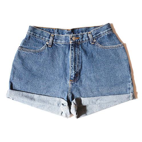 Vintage Faded Glory Medium Wash High Rise Cuffed Shorts - 29