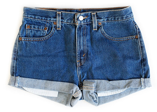 Vintage Levi's Dark Blue Wash High Rise Cuffed Shorts - Sz 28/29