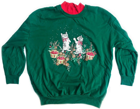 Vintage Cute Kittens Ugly Christmas Party Sweater - 1X