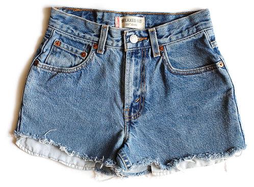 Vintage Levi's Light/Medium Blue Wash High Waisted / Rise Cut Offs Denim / Jean Shorts