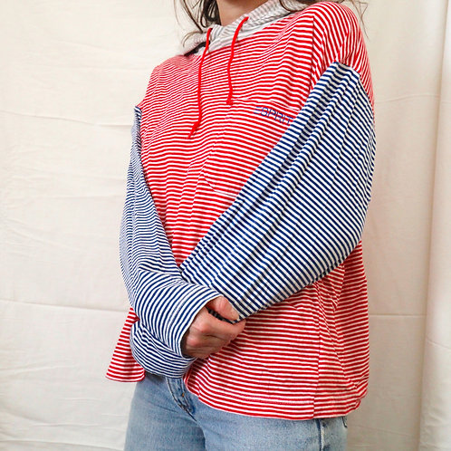 Vintage 90s Esprit Lightweight Blue, Red & White Striped Long Sleeved Shirt / Hoodie w/ Drawstring & Embroidered Logo Pocket