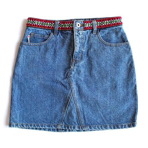 Vintage Y2k High Rise Aztec Trim Denim Skirt - 28