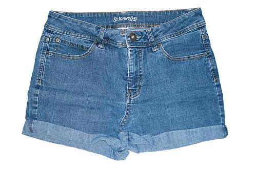 Vintage Medium Blue Wash Mid-High Waisted Rise Cuffed Shorts - Sz 30/31