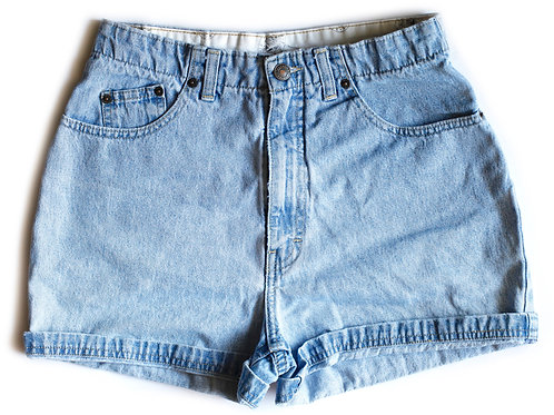Vintage Brittania Light Blue Wash High Waisted / Rise Cuffed Denim / Jean Shorts