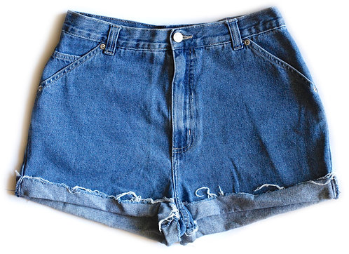 Vintage 90s Medium Blue Wash High Waisted / Rise Cuffed Rolled Cut Offs Denim / Jean Shorts