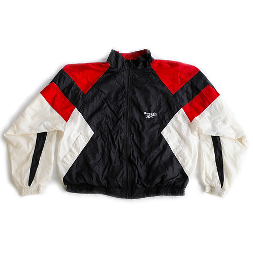 Vintage 90s Reebok Embroidered Logo Red Black and White Color Block Full Zip Windbreaker Jacket - L