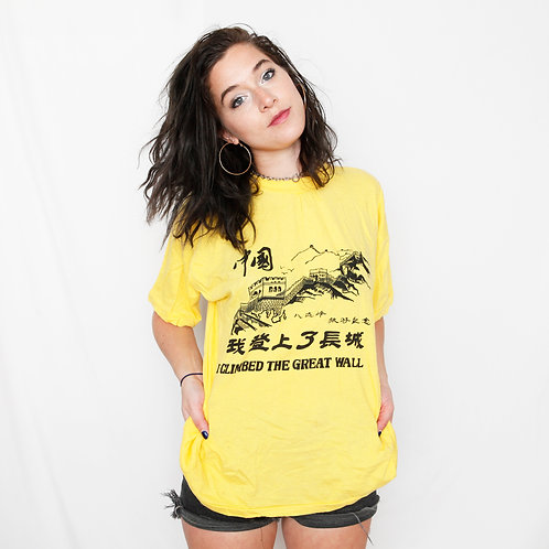 Vintage 'I Climbed the Great Wall' Yellow Graphic T-Shirt - M