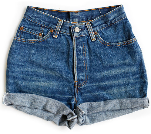 Vintage Levi's 501 Button Fly High Rise Cuffed Denim Shorts - 23/24